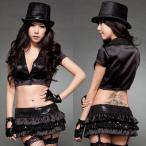 ショッピングコスプレ コスプレ 衣装 襟付きミニトップス×フリルミニスカート i−2251ブラック