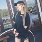 ゆったり ロンT 袖っ切りデザイン アシンメトリー ブラック ファッション アパレル 海外 韓国 インポート セレクト スタイル