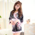 ショッピングコスプレ コスプレ 着物 黒×薄桃・大きなリボンが可愛い華やかミニ着物 o−2012
