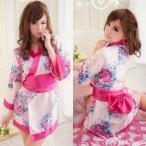 ショッピングコスプレ 【送料無料SALE】コスプレ 着物 大きめリボン×ピンクの花柄のセクシーミニ着物 o−2013
