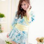 ショッピング衣装 【送料無料SALE】コスプレ 着物 ブルー×イエロー・大きな花柄の着物風セパレートミニドレス o−2075