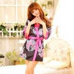 【送料無料SALE】黒×ピンク リボンで結ぶ艶やかミニ着物 可愛い 花魁 着物 浴衣 ドレス 和服 コンパニオン キャバ ギャル ナイトドレス ハロウィン