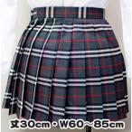 wsk-11 チェック柄 プリーツ スカート グレー×赤 30cm