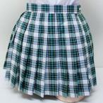 wsk-28b チェック柄 プリーツ スカート 白×緑×黄 40cm