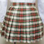 wsk-54b チェック柄 プリーツ スカート 赤×緑×白 40cm