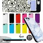 iPhone8 ケース iPhone X ケース カード収納ケース 背面収納 薄型 スライド iqute おしゃれ スタイリッシュ マーブル アニマル柄 花柄 北欧