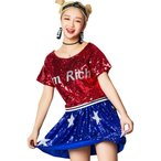 スパンコール ダンス衣装 アメリカ国旗柄 星条旗 2点