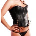 バーレスクダンス 衣装 コルセット ビスチェ トップ フェイクレザー 合皮 ブラック Mサイズ