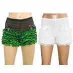 ダンス衣装 ショートパンツ ペチコートパンツ ペチパンツ レース ホワイト・レッド・グリーン・ブラック