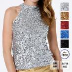 スパンコール ダンス衣装 トップス アメスリ ハイネック ノースリーブ タンクトップ ゴールド・シルバー・レッド ブルー ブラック フリーサイズ