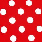 水玉 生地 ドット 生地 ブロード 生地 (色:赤) (水玉の大きさ:大・直径約22mm) (50cmから注文可) (価格は10cmの価格)
