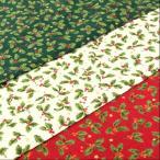 生地 クリスマス 柄 布 柊(ひいらぎ)のプリントとラメのドットと星スケアープリント/白 赤 緑/テーブルクロス