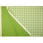 綿麻 生地 布 チェックと水玉柄 リバーシブル(黄緑)ドット コットン リネン 布地 手芸