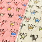 猫柄 キルティング 生地 キルト 布 キュートなねこちゃん オフホワイト ピンク 子供 安い 布地 入園 入学 3周年セール
