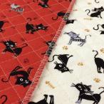 キルト 生地 キルティング 布 猫柄 クロネコとトラネコ ねこ 子供 安い 赤 白/手芸 布地
