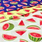 スイカ柄 生地 シーチング すいか柄 布 布地 手芸 果物 くだもの フルーツ 食べ物柄