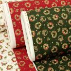 生地 クリスマス柄 布 クリスマスリース柄 白 赤 緑 系 スケアー テーブルクロス 布地
