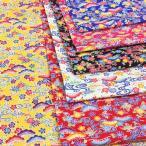 生地 琉球柄 沖縄 紅型風 びんがた シーチング 和柄 布 黄色 白 ピンク ブルー 赤 黒 系 布地 手芸