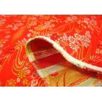 金襴 生地 寿三丁 流水と小花(赤)和柄 和調 和風 布 手芸 きんらん 金らん 3周年セール