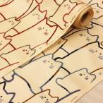 猫柄 生地 布 大きなねこ 大柄 綿 ベージュ コットンこばやし 綿/手芸 かわいい 布地
