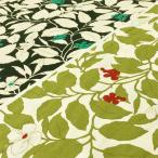 花柄 生地 おしゃれ 布 お庭の木の実 ツイルプリント/綿 植物 布地/ベージュ 紺 系/手芸
