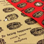 動物柄 布 生地 たわしなハリネズミ 綿麻キャンバス 赤 ベージュ コットン リネン 手芸 メール便可