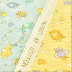 リップル生地 浴衣 甚平 生地 ポプリンリップル 動物たちのサーカス 布 布地/ゆかた 手芸 子供 動物柄 水色 黄色 ベビー 赤ちゃん キッズ
