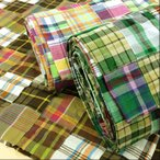布 生地 インド綿 マドラスチェックのパッチワーク 布地/ピンク 茶色 緑 紺 系 手芸 3周年セール
