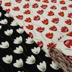 北欧風 花柄 生地 チューリップ 綿麻 キャンバス 布 布地 手芸 コットンリネン ファブリック 子供 おしゃれ 北欧柄