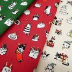 クリスマス柄 生地 布 サンタねこ スケアー 布地 手芸 白 赤 緑系 生地屋 生地の店 テーブルクロス ファブリック 2020
