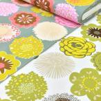 生地 北欧風 花柄 布 綿 おしゃれ ドロップフラワー オックス W巾 広巾(150cm幅)大柄 白 緑 布地 手芸 カーテン
