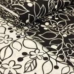 生地 北欧風 花柄 布 綿 おしゃれ グローブ 布地 オックス 白 黒 モノトーン W巾 広巾(150cm幅)大柄 SEVEN BERRY ファブリック 手芸 カーテン
