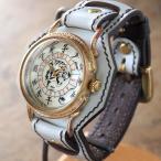 ショッピング手作り ストラップ 手作り腕時計 ハンドメイド 達磨(だるま) 「白虎」 Wストラップ/和時計/和柄/和風/アンティーク調/レトロ/真鍮