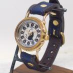古董手錶 - 手作り腕時計 ハンドメイド 達磨(だるま) 「本藍」 螺鈿(らでん)文字盤 レディース/和時計/和柄/和風/猫/ネコ/ねこ/アンティーク調/レトロ/本藍染め/真鍮