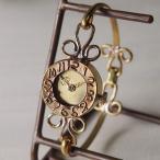 古董手錶 - 手作り腕時計 ハンドメイド ipsilon(イプシロン) fiore(フィオーレ) 金仕上げ レディース/ブレスレットタイプ/華奢/アンティーク調/レトロ/真鍮