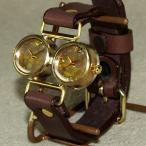 手作り腕時計 ハンドメイド 渡辺工房 Dragonfly-DT メンズブラス/アンティーク調/スチームパンク/デュアルタイム