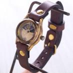 古董手表 - 手作り腕時計 ハンドメイド 渡辺工房 レディースブラス シルバー数字 SUN&MOON/アンティーク調/レトロ/サンアンドムーン