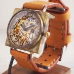 手作り腕時計 ハンドメイド 渡辺工房 自動巻き 裏スケルトン スクエア 立体数字インデックス ジャンボブラス/アンティーク調