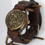 手作り腕時計 ハンドメイド 渡辺工房 立体インデックス 手巻き式 メンズブラス 裏スケルトン/アンティーク調/レトロ