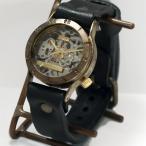 手作り腕時計 ハンドメイド 渡辺工房 手巻き式 裏スケルトン Explorer メンズブラス/アンティーク調/スチームパンク