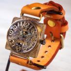 手作り腕時計 ハンドメイド 渡辺工房 手巻き式 裏スケルトン スクエア 36mm ジャンボブラス 立体数字&刻印数字/アンティーク調