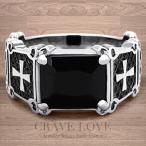 (メンズリング・男の指輪) ブラック ストーン クロス メンズ ステンレス リング/指輪/ ブラックダイヤモンド カラー/  プラチナ シルバー カラー