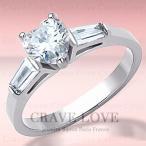可愛い ハート 3ストーン ステンレス リング/指輪/ダイヤモンド カラー/レディース リング