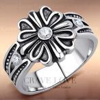 (メンズリング・男の指輪)  メンズ フローラル クリスタル シルバー ステンレス リング | 男性 指輪 ユーロデザイン おしゃれ ヴィンテージ風 CRAVE-LOVE