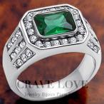 (メンズリング・男の指輪) 豪華デザイン メンズ ステンレス リング/指輪/RM10/ エメラルド カラー/ グリーン 緑色 / ダイヤモンド カラー/ 幅広