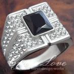 (メンズリング・男の指輪) 豪華デザイン メンズ ステンレス リング/指輪/RM11/ ブラックダイヤモンド カラー 黒色 / ラグジュアリー リング / 幅広
