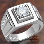(メンズリング・男の指輪) 豪華デザイン メンズ ステンレス リング/指輪/RM17-S/ ダイヤモンド カラー/ プラチナ シルバー カラー