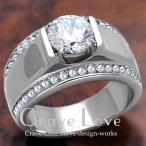 (メンズリング・男の指輪) 豪華デザイン メンズ ステンレス リング/指輪/RM19 / ラグジュアリー / ダイヤモンド カラー/ プラチナ シルバー カラー / 幅広