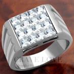 (メンズリング・男の指輪) 豪華デザイン メンズ ステンレス リング/指輪/RM21/ ダイヤモンド カラー/ プラチナ シルバー カラー / 幅広