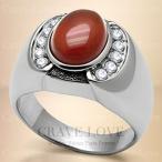 (メンズリング・男の指輪) ブラウン オニキス シルバー ステンレス メンズ リング RM31 男性 指輪 幅広 ファッションリング   メノウ 茶色 パワーストーン